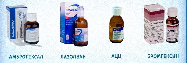 Амброгексалом; Лазолваном; Амброксолом; Беродуалом; Беротеком; Хлоридом натрия.