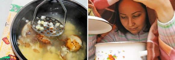 Ингаляции вареной картошкой при кашле